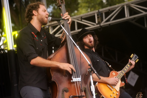 Sons of guns! David Beck (left) and Tony Browne at Zilker Park, 10.11.13 PHOTO BY JOHN ANDERSON