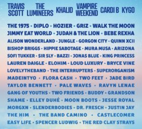Travis Scott, Lumineers, Vampire Weekend, the 1975, Hozier, Griz....